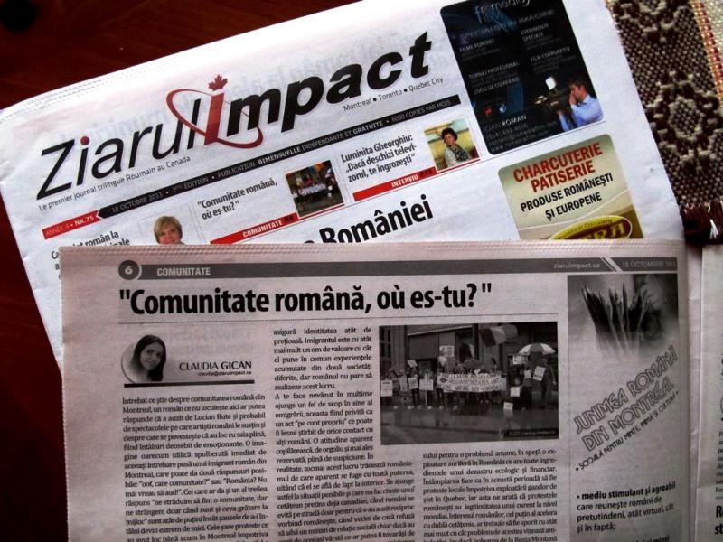 Ziarul Impact din Montreal - articol Claudia Gican